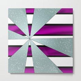 4Shades Glass: Purple B/W Reverse Metal Print