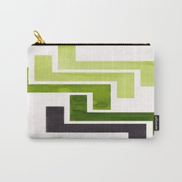 Sap Green Pattern Mid-century Modern Simple Geometric Pattern Watercolor Minimalist Art Squares Carry-All Pouch
