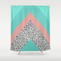 90s Shower Curtains featuring 90s Chevron by Zeke Tucker