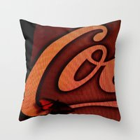 coke Throw Pillows featuring Coke Butterfly by BinaryGod.com