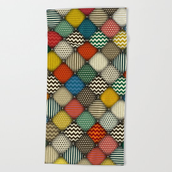 buttoned patches retro Beach Towel