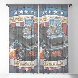 American Muscle Patriotic Classic Muscle Car Cartoon Illustration Sheer Curtain