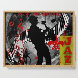 New Orleans Jazz Saxophone And Piano Music Serving Tray