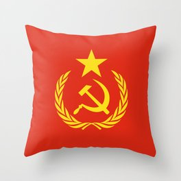 Russian Communist Flag Hammer & Sickle Throw Pillow