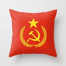 Russian Communist Flag Hammer & Sickle Throw Pillow