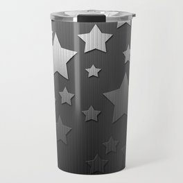 Black and White Herringbone Embossed Stars Travel Mug