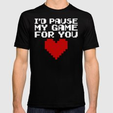 Pause My Game For You Gaming Quote Black MEDIUM Mens Fitted Tee