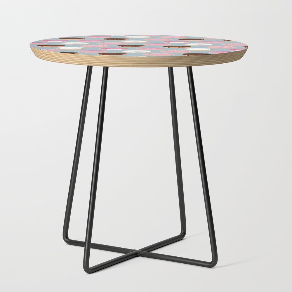 Sweet Donuts Pattern Round Side Table with Black Legs by Rhoar