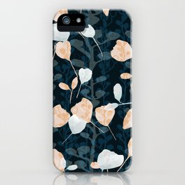 Berry Vine Print Teal and Peach iPhone Case
