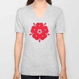 Japanese Samurai flower red pattern Unisex V-Neck