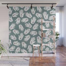 Indian summer eye bohemian hamsa hand of fatima pattern mint teal gray Wall Mural