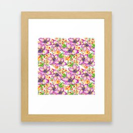Hand painted modern pink lilac watercolor hibiscus floral pattern Framed Art Print