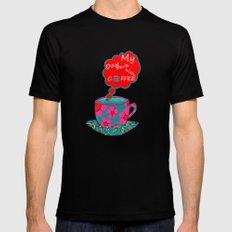 My Day Starts With Coffee - Pink MEDIUM Black Mens Fitted Tee