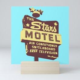 Seeing Stars ... Motel ... (Blue Background) Mini Art Print
