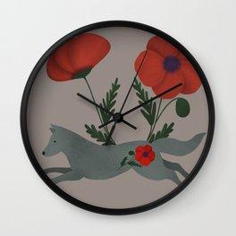Leaping Wolf Folk Art Wall Clock