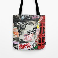 stickers Tote Bags featuring Stickers by Kirstie Battson