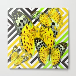 CONTEMPORARY GREY & YELLOW PATTERN BUTTERFLIES Metal Print