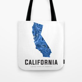 California - State Map Art - Abstract Map - Blue Tote Bag