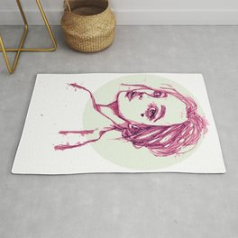 Pink Girl in a Green Circle Rug
