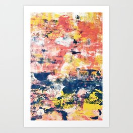032.5: a vibrant abstract design in yellow pink and blue by Alyssa Hamilton Art Art Print