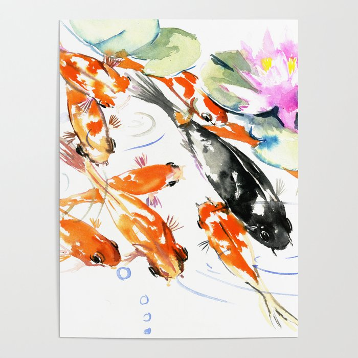 Nine Koi Fish 9 Koi Feng Shui Artwork Asian Watercolor Ink Painting Poster By Sureart