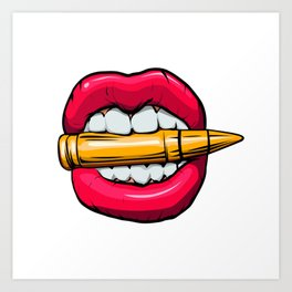bullet in mouth. Art Print
