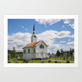 white wooden stave church near Leira in Norway with cemetery Art Print