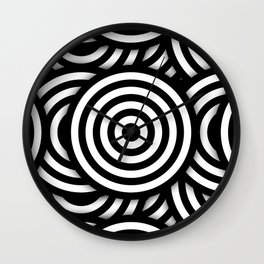 Retro Black White Circles Op Art Wall Clock