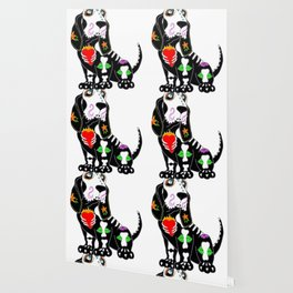 Basset Hound Sugar Skull Wallpaper
