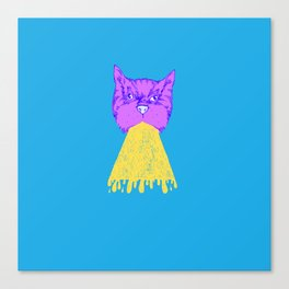 Cat Vomit - Purple Poot + Blue Background Canvas Print