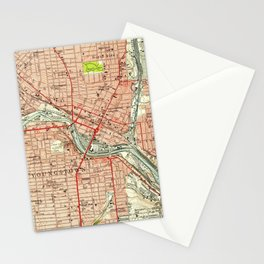 Vintage Map of Youngstown Ohio (1951) Stationery Cards
