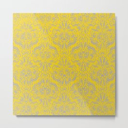 Damask in Yellow / Gray Metal Print