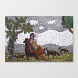 Lady with foxes Canvas Print