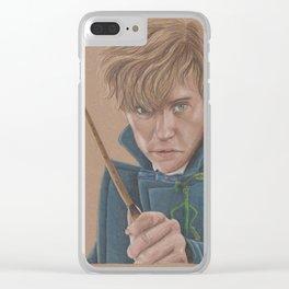 Newt Scamander Portrait played by Eddie Redmayne Clear iPhone Case