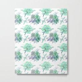 Succulents Mint Green Lavender Lilac Violet Pattern Metal Print