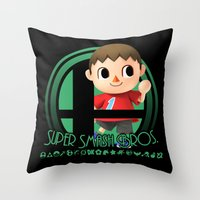 super smash bros Throw Pillows featuring Villager - Super Smash Bros. by Donkey Inferno