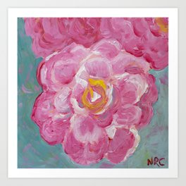 Image of my bright and cheerful fully blooming pink Rose acrylic painting Art Print