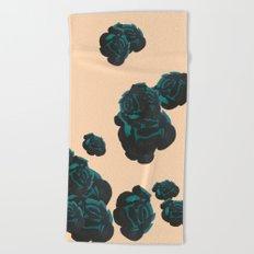 Green and Black Roses on Peach, Greenery Beach Towel