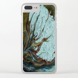 Cotton Boll on Wood Clear iPhone Case