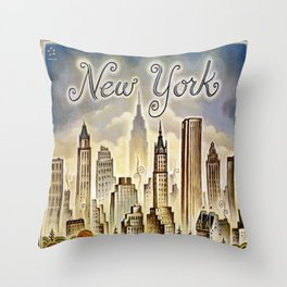 Vintage New York Central Park United Airlines Advertisement Poster Throw Pillow