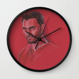 Derek in Red Wall Clock