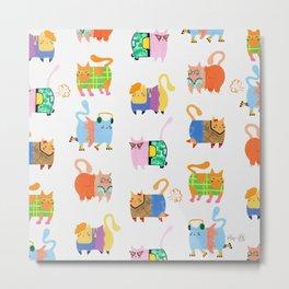 Fashion Cats - Rainbow Pattern Metal Print