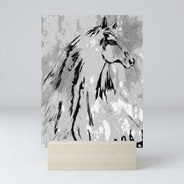HORSE BLACK AND WHITE Mini Art Print