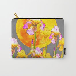IRIS GARDEN & RISING GOLD MOON  IN GREY SKY Carry-All Pouch