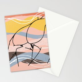 The Waves Of Sex, Erotic Lovers Art, Minimalist Sex Illustration, Modern Sex Pose Line Drawing Stationery Cards