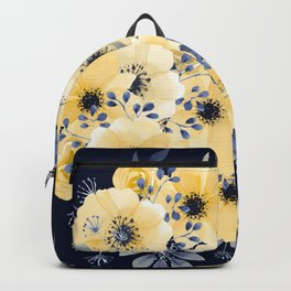 Floral Watercolor Print, Yellow and Navy Blue Backpack