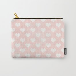 Pink Coral Love Hearts Carry-All Pouch