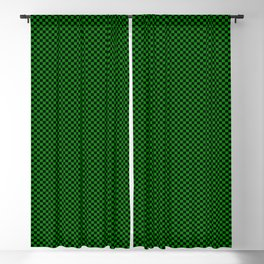 Black and dark green squares Blackout Curtain