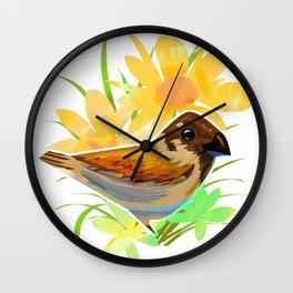 Daisy sparrow Wall Clock