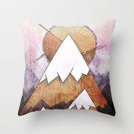 Metal Mountains Throw Pillow